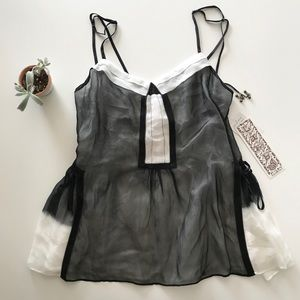 {l.a.m.b.} silk prudy flowy boho top black white